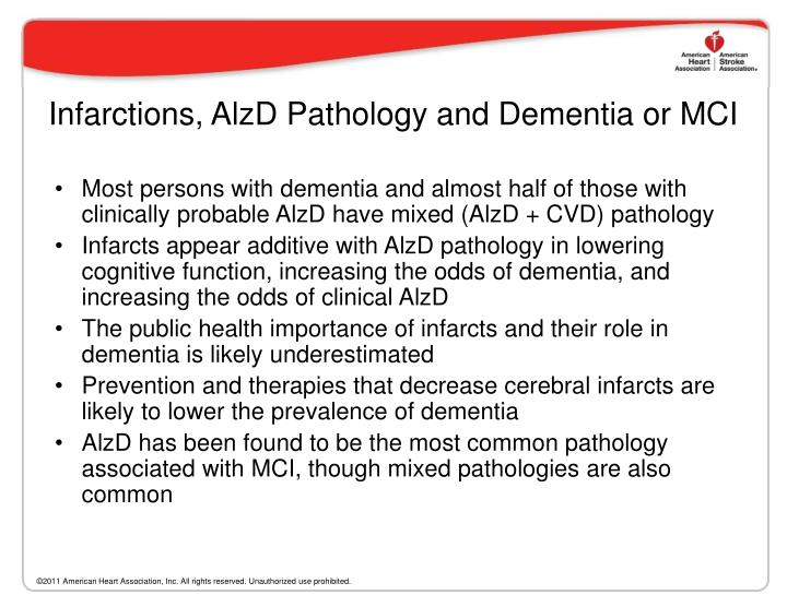 Infarctions, AlzD Pathology and Dementia or MCI