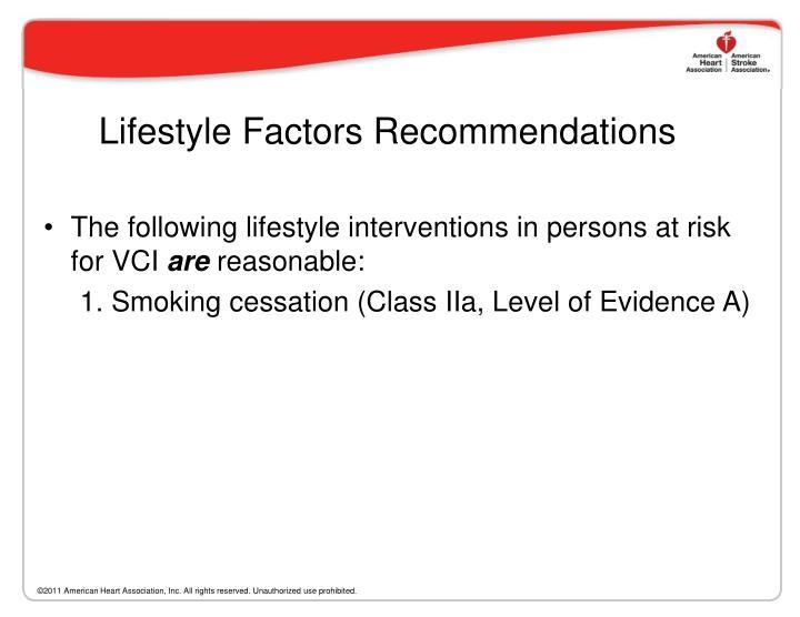 Lifestyle Factors Recommendations