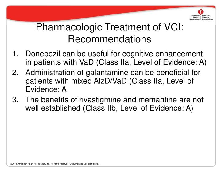 Pharmacologic Treatment of VCI: Recommendations