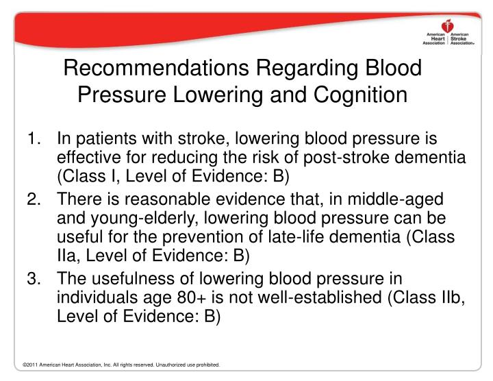 Recommendations Regarding Blood Pressure Lowering and Cognition