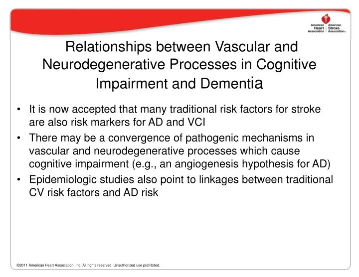 Relationships between Vascular and Neurodegenerative Processes in Cognitive Impairment and Dement