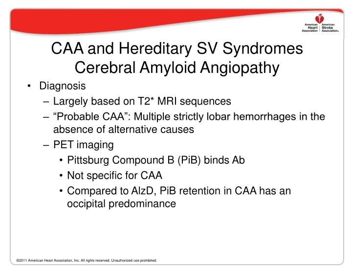 CAA and Hereditary SV Syndromes