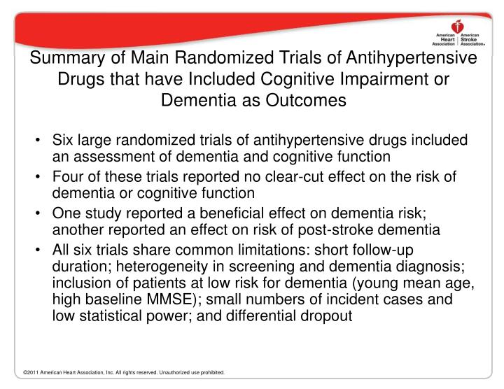 Summary of Main Randomized Trials of Antihypertensive Drugs that have Included Cognitive Impairment or Dementia as Outcomes