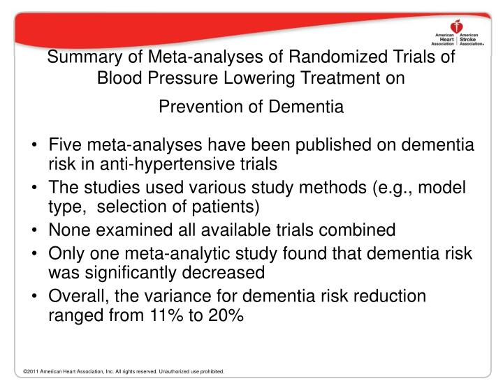 Summary of Meta-analyses of Randomized Trials of Blood Pressure Lowering Treatment on