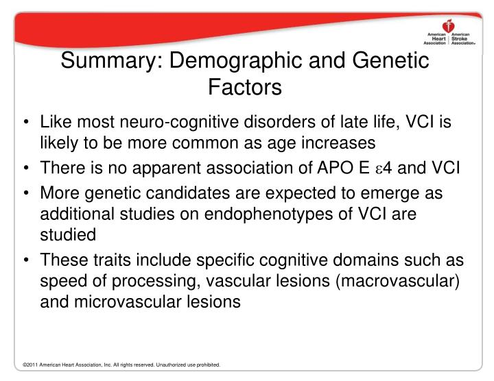 Summary: Demographic and Genetic Factors