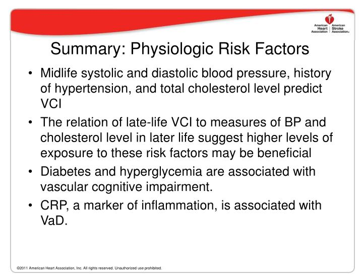 Summary: Physiologic Risk Factors