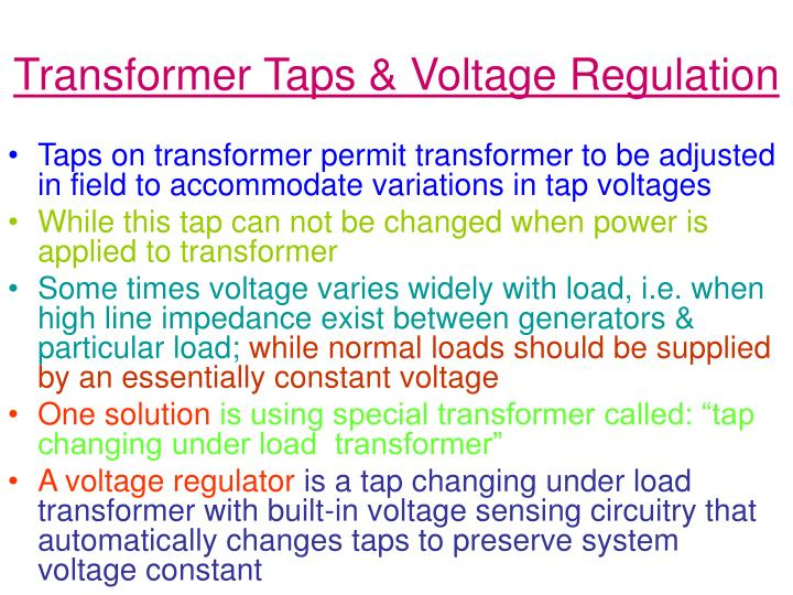 Transformer Taps & Voltage Regulation