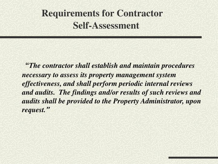 Requirements for Contractor