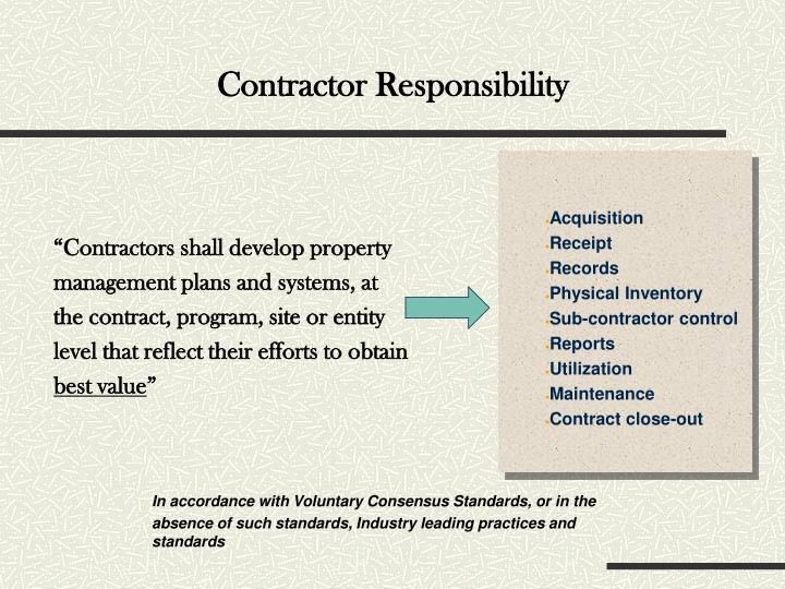 Contractor Responsibility