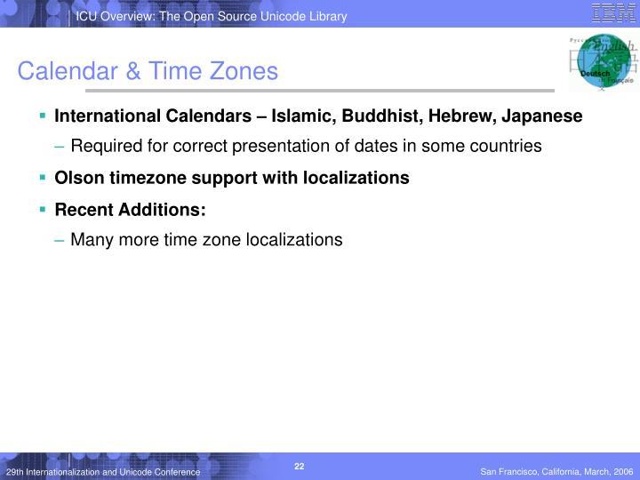 Calendar & Time Zones