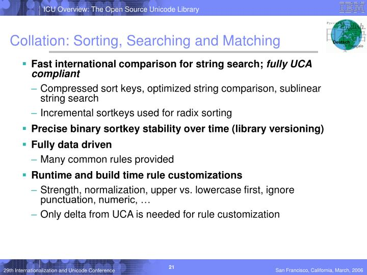 Collation: Sorting, Searching and Matching