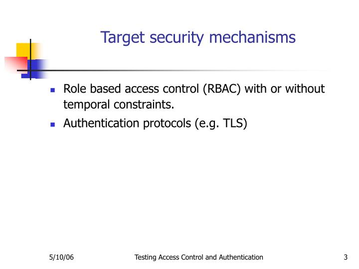 Target security mechanisms