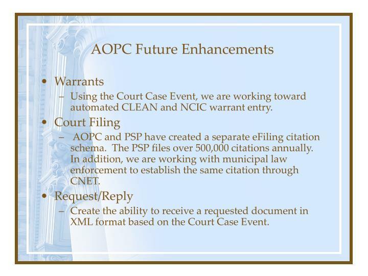 AOPC Future Enhancements