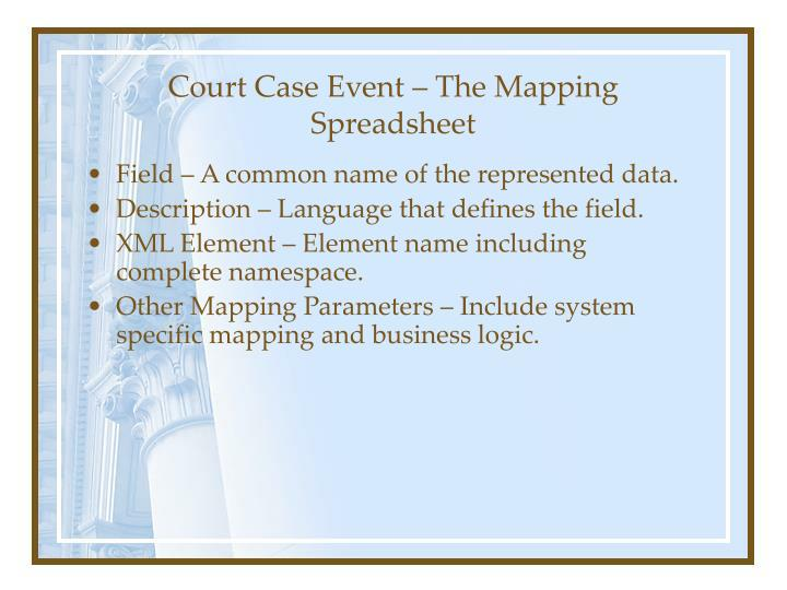 Court Case Event – The Mapping Spreadsheet