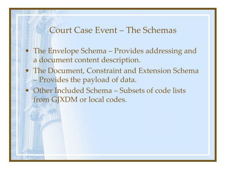 Court Case Event – The Schemas