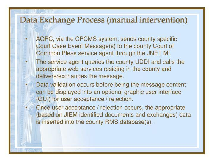 Data Exchange Process (manual intervention)