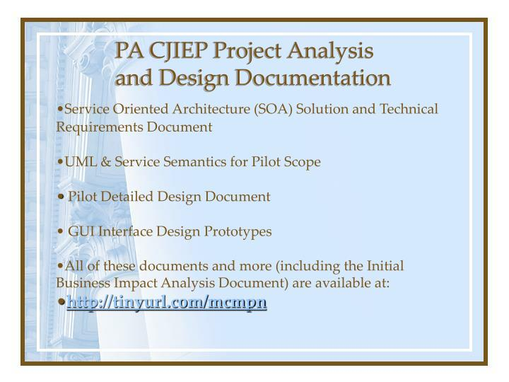 PA CJIEP Project Analysis and Design Documentation