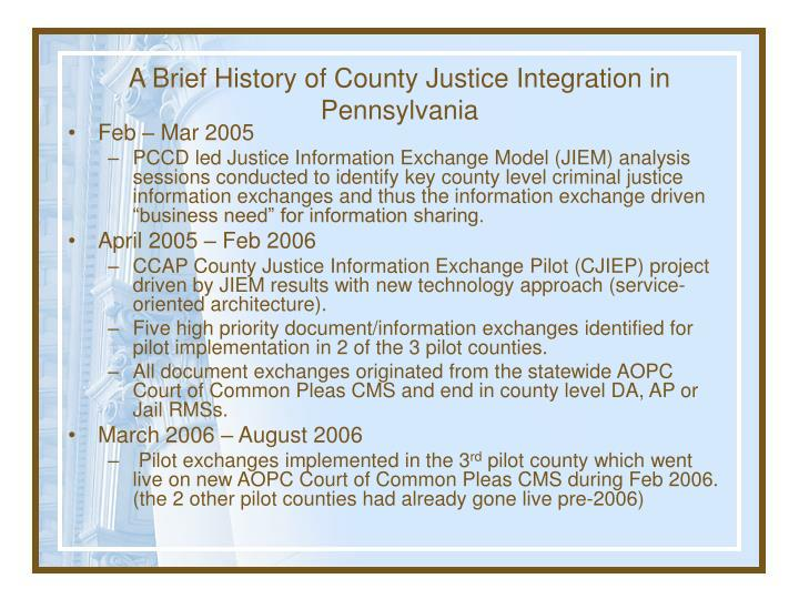 A Brief History of County Justice Integration in Pennsylvania