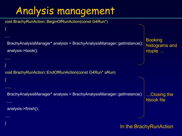 Analysis management