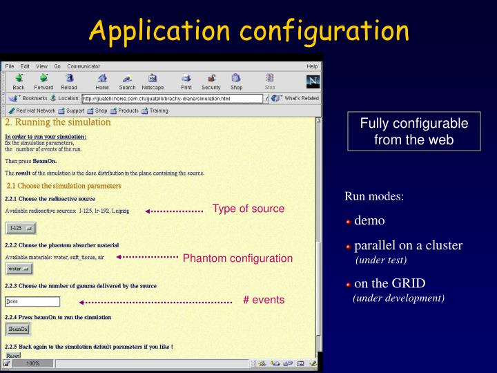 Application configuration