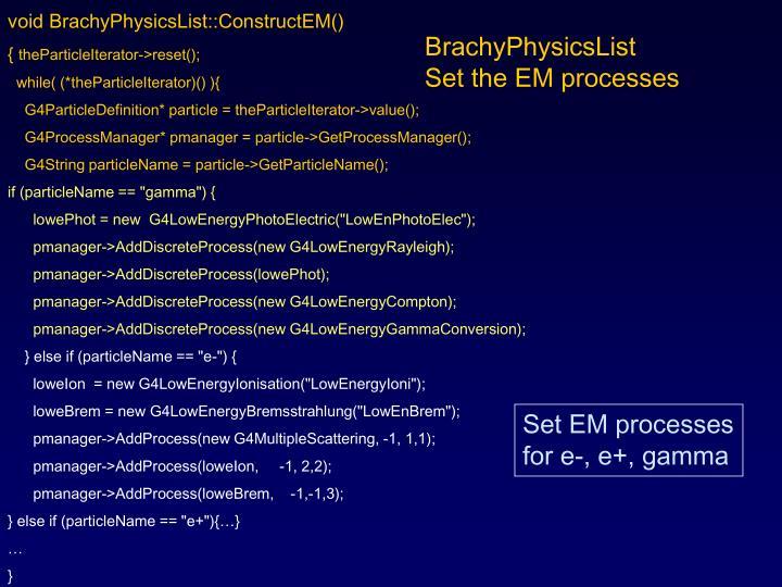 void BrachyPhysicsList::ConstructEM()
