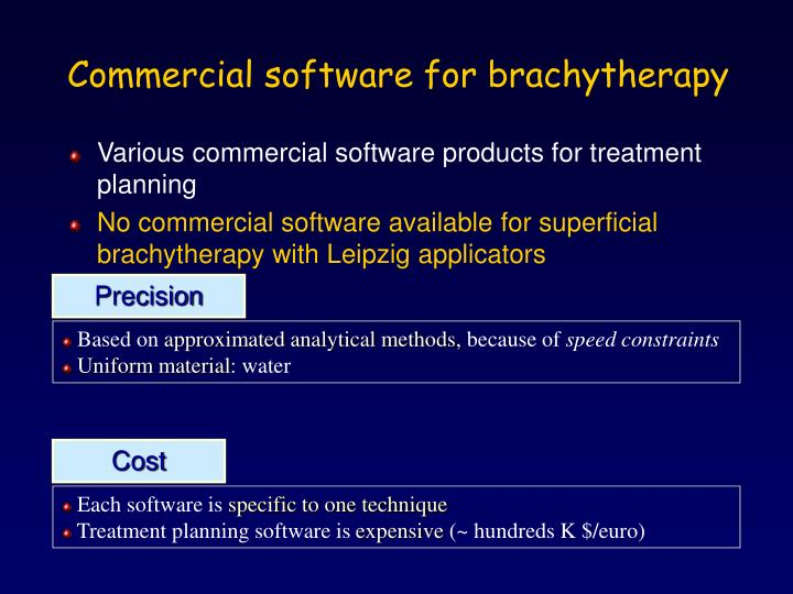 Commercial software for brachytherapy