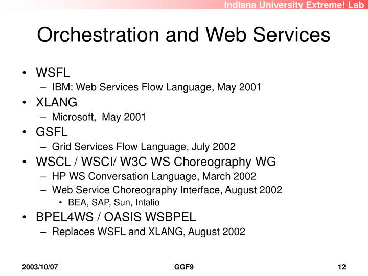 Orchestration and Web Services