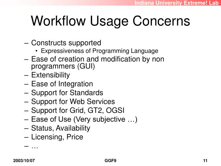 Workflow Usage Concerns