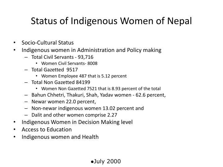 Status of Indigenous Women of Nepal