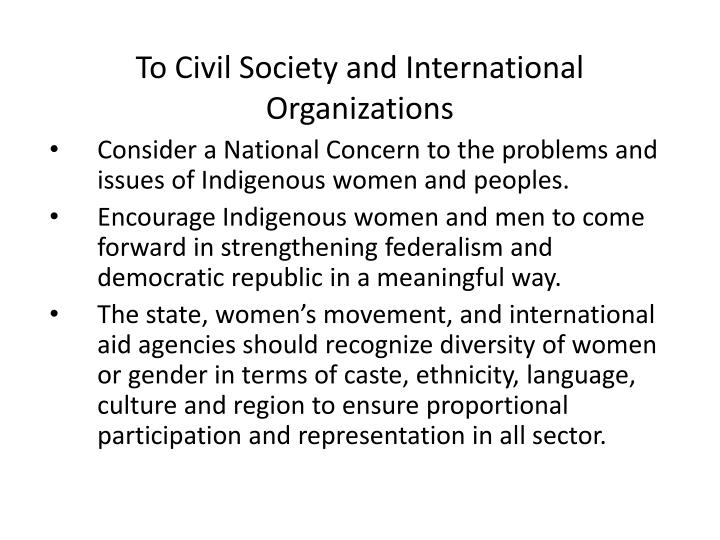 To Civil Society and International  Organizations