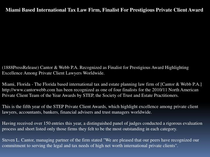 Miami Based International Tax Law Firm, Finalist For Prestigious Private Client Award