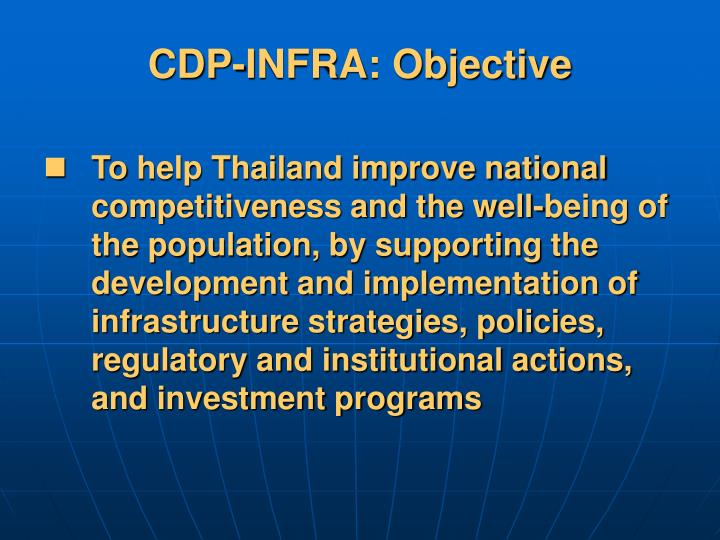 CDP-INFRA: Objective