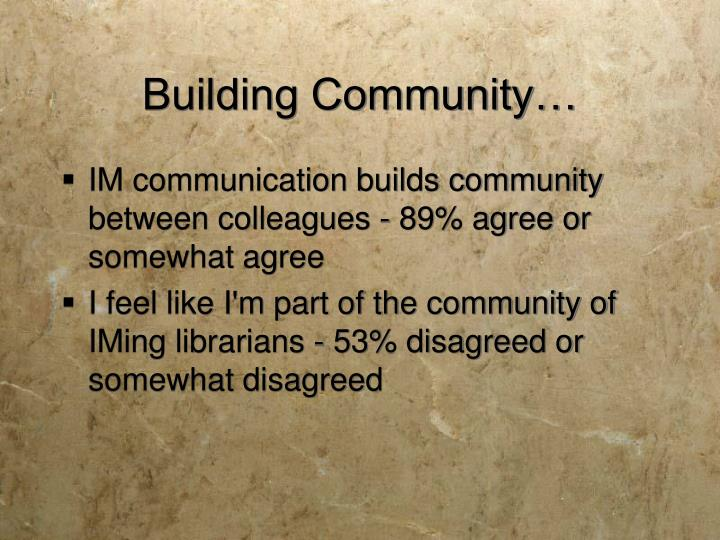 Building Community…