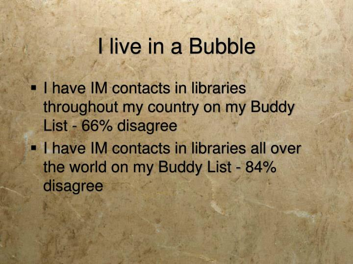 I live in a Bubble