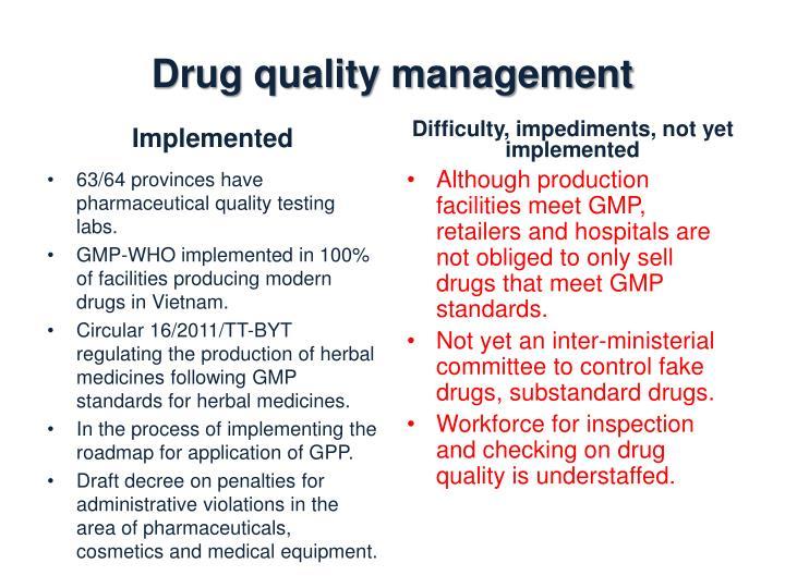 Drug quality management