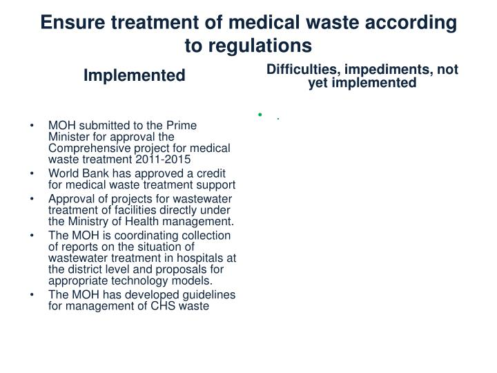 Ensure treatment of medical waste according to regulations