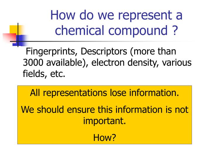 How do we represent a chemical compound ?