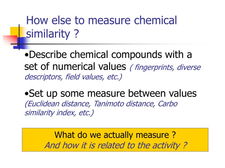 How else to measure chemical similarity ?