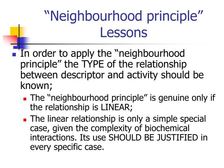 """Neighbourhood principle"" Lessons"