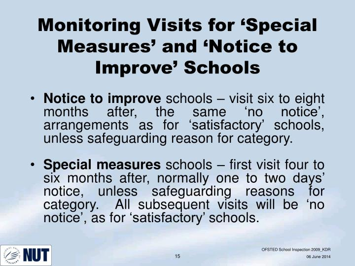 Monitoring Visits for 'Special Measures' and 'Notice to Improve' Schools