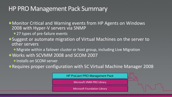 HP PRO Management Pack Summary