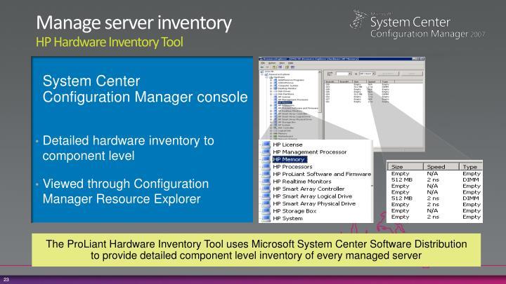 Manage server inventory