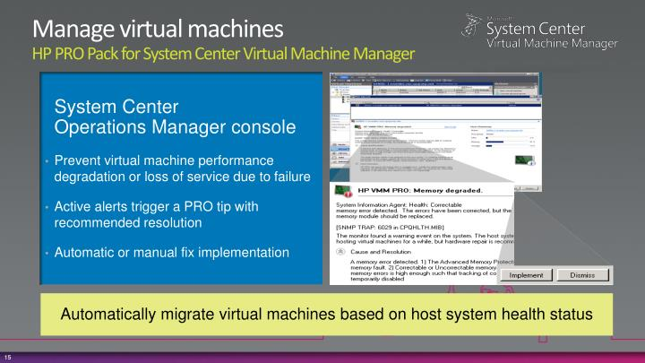 Manage virtual machines
