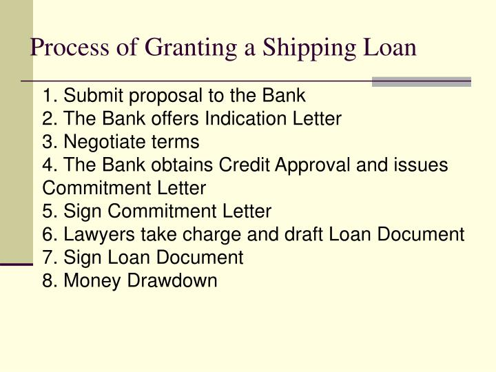 Process of Granting a Shipping Loan