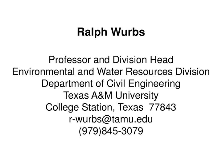 Ralph Wurbs