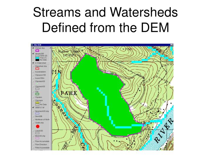 Streams and Watersheds Defined from the DEM