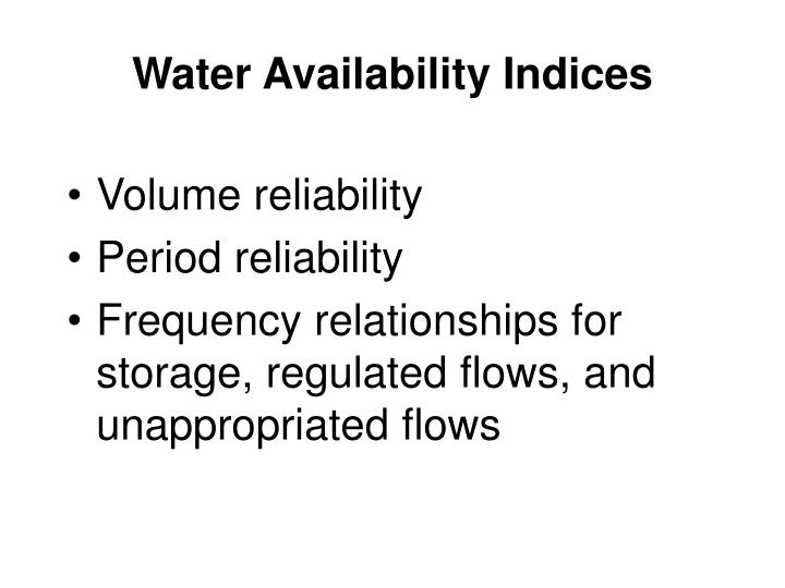 Water Availability Indices
