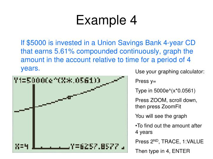 If $5000 is invested in a Union Savings Bank 4-year CD that earns 5.61% compounded continuously, graph the amount in the account relative to time for a period of 4 years.