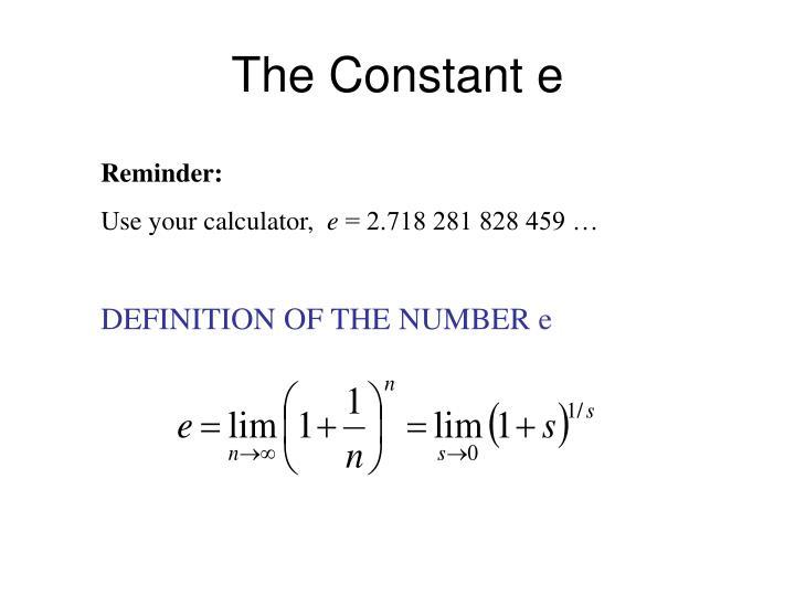 The Constant e
