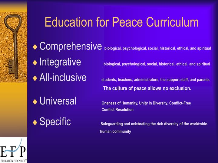 Education for Peace Curriculum